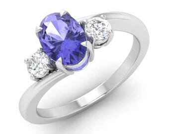 Tanzanite Engagement Ring, 14K White Ring, Anniversary Ring, Wedding Ring, Tanzanite Birthstone Ring, Three Stone Ring, Oval Engagement Ring