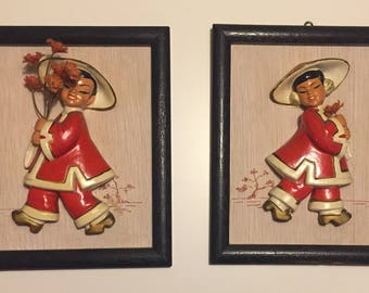 Pair Mid Century Asian Chalkware Wall Plaques