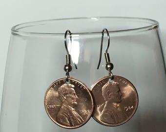 1984 Penny Earrings Free Gift Bag 34 Year Anniversary 34th Birthday