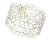 Cuff bracelet silver plated. Wire crochet bracelet. Cuff bracelet. Wire crochet jewelry. French handmade jewelry. original gift woman.