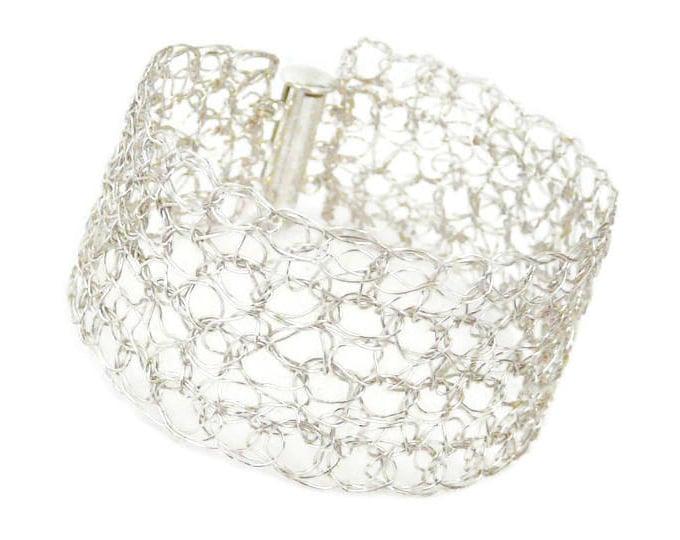 Featured listing image: Bracelet manchette plaqué argent made in France.
