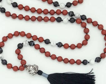 Octopus Mala with Red Jasper, Black Onyx & Howlite, 108 bead mala, hand-made, silk tassel
