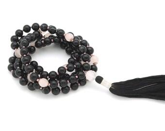 Black Onyx Rose Quartz Meditation Mala with hand-made silk tassel, 108 bead