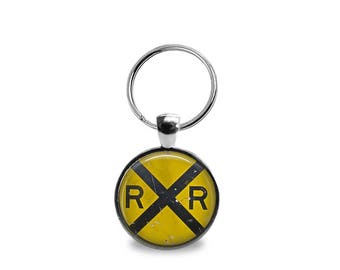 Vintage Rail Road Sign Key Chain or Pendant
