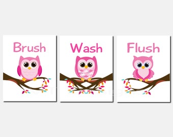 Kids Bathroom Decor, Owl Bathroom Art, Bathroom Rules, Toddler Art, Pink,