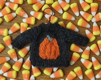 Pumpkin Hand-Knit Sweater Ornament  Halloween Ornament  *Available to Order - Christmas Delivery Not Guaranteed*