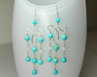 Turquoise Chandelier Earrings, Blue Turquoise Gemstones, Turquoise Earrings Genuine, Wire Wrap Turquoise, Long Dangle Earrings