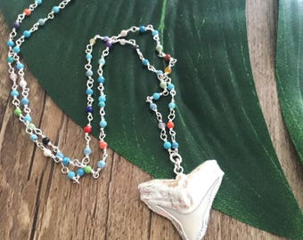 New! Sterling Silver Beaded Sharks Tooth