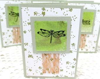 Dragonfly Note Cards - Small Note Cards - Dragonfly Cards - Set of Four Note Cards - Copper Accent - Green Note Cards - Small Note Card Set