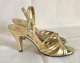 1970's Gold Leather Sesto Meucci Slingback Heels sz. 5 1/2