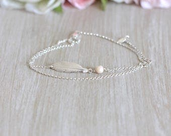Silver feather anklet jewelry cream 925 2 towers