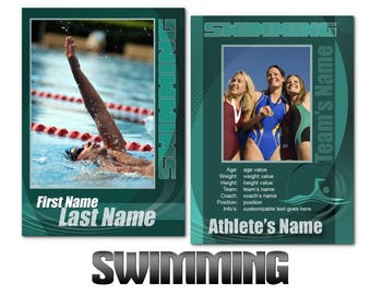 """Swimming """"Impact"""" Cards Templates"""