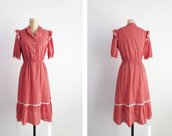 Coral Country Dress // Medium Floral Prairie Print Country Western Dress // Women's Vintage Clothing