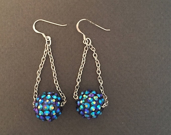 Sterling Silver with Disco Ball Drop Earrings FREE SHIPPING