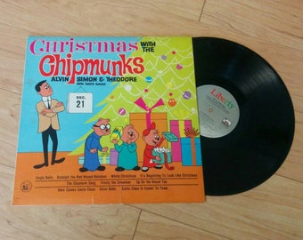 Vintage Christmas with the Chipmunks LP Vinyl Record - 1980s Christmas Album - Alvin and the Chipmunks