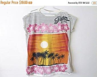 ON SALE Women's LARGE/Xlarge Vintage 1990 Guam Graphic Extra Long Shirt