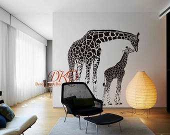Giraffe decal, giraffe decor, giraffe wall decal, giraffe wall art, giraffe wall sticker, Jungle Art Mural Safari Decals-DK039