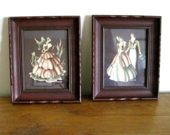 Pair Turner Prints Framed with Mid Century Ornate Wood Frames, 1940s Artwork, Dk Brown, Southern Belle & Romantic Couple, Both Signed Turner