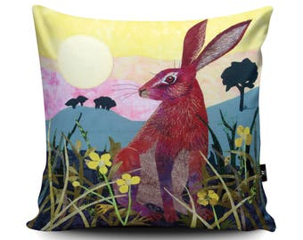 Hare Cushion, Hare Pillow, Rabbit Cushion, Rabbit Pillow, Animal Pillow, Home Decor, Spring Hare, Sunrise, Vegan Suede Cushion by Kate