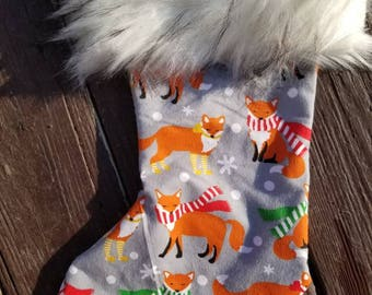 Christmas red fox 16 inch fully lined fur trimmed stocking