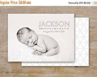 ON SALE Birth Announcement Template - 5x7 boy birth announcement template - photography template  INSTANT Download