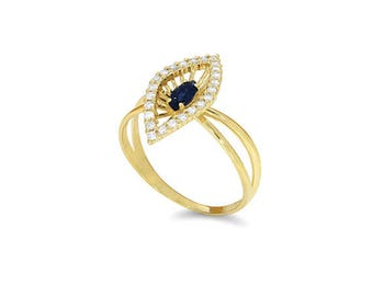 14k solid yellow gold diamond and genuine sapphire ring.