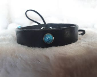 Black Leather and Turquoise Cuff
