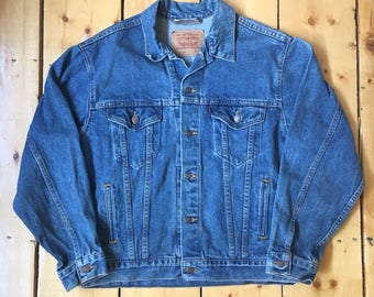 Vintage 90s Levi Strauss Levis Classic 527 Denim Jean 4 Pocket Jacket - Made in USA - Medium