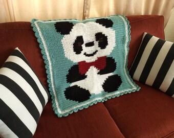 Crochet Panda Bear Baby Blanket