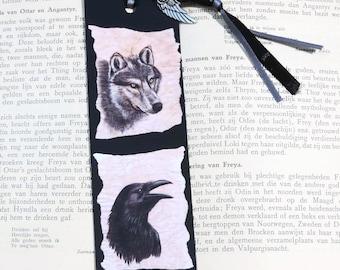 Bookmark: Raven and Wolf / Black bird / Game of Thrones / Crow / Canis Lupus / Corvus Corax / Summer reading Pleasure /  Nice handmade Gift