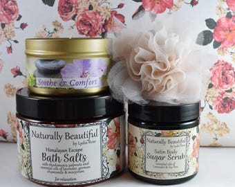 Relaxation Gift Set | Bath Salts | Sugar Scrub | Candle Tin