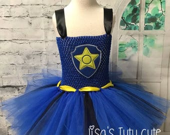 paw patrol costume, chase dress, chase costume, chase tutu, chase tutu dress, police tutu, police tutu dress, police costume,