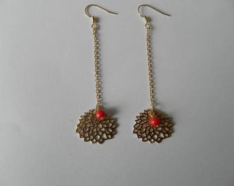 Coral Pearl and gold Lily earrings