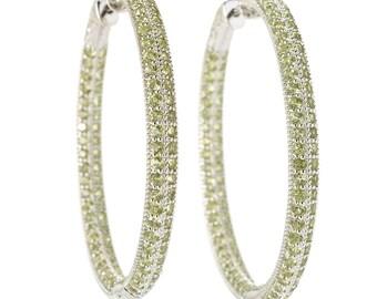 """Rhodium o/ Sterling Silver 8.29ctw Peridot Inside Out Hoop Earrings 2""""L"""