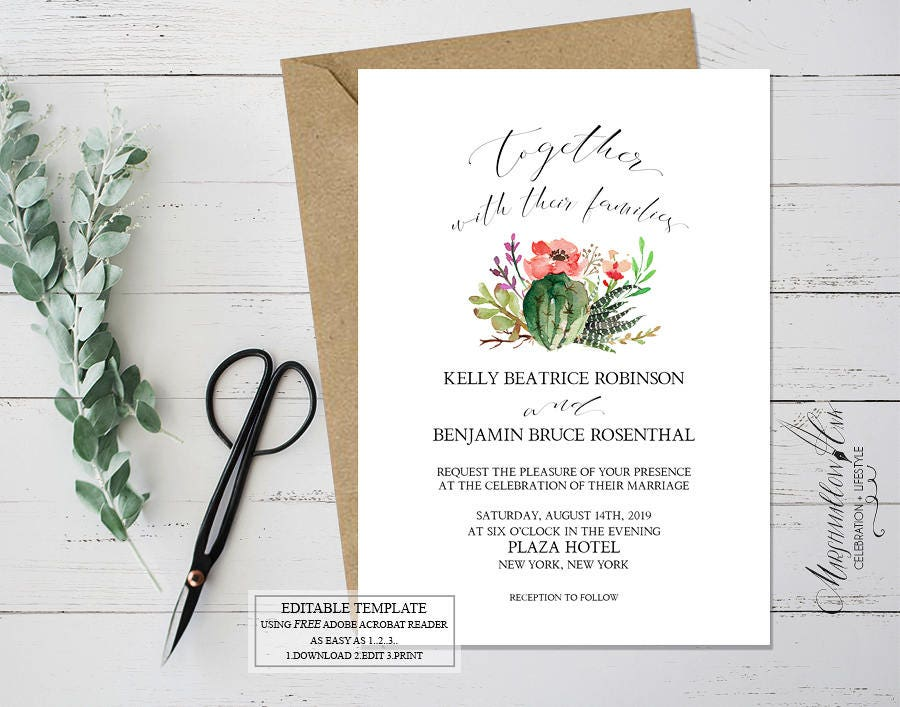 Wedding Invitation -  Succulent Printable Wedding Invitation, Rustic Boho Wedding Template Cactus, Wedding Stationery DIY Wedding Template