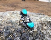 Vintage Boho Old Pawn Native American Navajo Sterling Silver Turquoise Flower Statement Ring