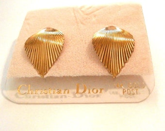 Christian Dior  Gold Plated Leif Earrings with 14kt Gold Posts