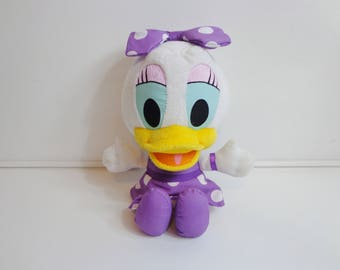 Rare Collectible Disney Baby Daisy Duck Talking Plush Toy Doll with Purple Dress & Bow Disneyana Cartoon Character Silly Gal Stuffed Animal