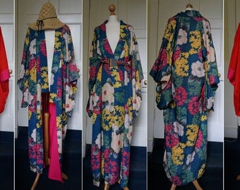 Antique/Vintage 1930s Art Deco silk floral  Kimono Robe/Duster Festival/Flapper/Boho/Hippie/Goddess