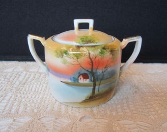 Beautiful Vintage Noritake Hand Painted  Double Handled Covered Sugar Bowl