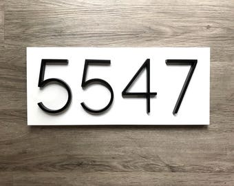 Modern White Address Plaque // Modern Rustic House Number Plaque // White Horizontal Address Sign