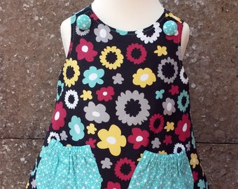 Size 18-24 months Reversible Pinafore Dress, Pinafore Dress, Reversible Dress, A-Line Dress, Girls Outfit (Poppy & Skylight) READY TO SHIP