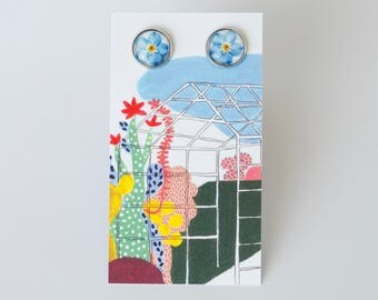 Earrings with a forget-me-not, handmade with glass cabochons, illustration, flower, rose gold,1.