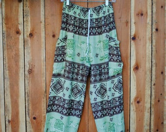 Light Green & Brown Elephant Harem Pants with Two Side Pockets // Elastic Drawstring Waist // 100% Cotton // One Size Fits Most