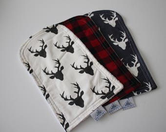 Buck Forest Night Cotton Print in Navy and Ivory,  Ivory and Black and Red and Black Buffalo Check - Burp Pad Cloths - Cotton and Chenille