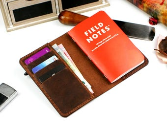 Field Notes Wallet, Notebook wallet, Field Notes distressed leather book cover