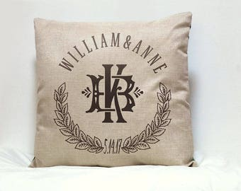 Personalized Monogram Pillow cover Wedding gift for Couples .Established Date