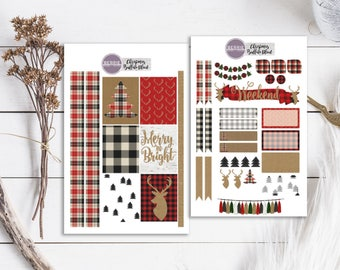 Buffalo Plaid Christmas Kraft Paper Kit Planner Stickers ECLP Happy Planner