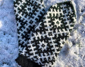 Latvian mittens Ethnic mittens Wool mittens Women's mittens Natural wool mittens Ready to ship