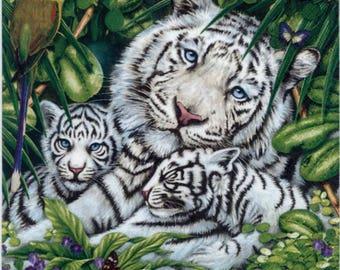 4 Decoupage Napkins | Snow Leopard Family | Tiger Napkins | Wildlife Napkins | Cat Napkins | Paper Napkins for Decoupage | Napkin Decoupage